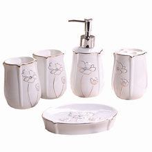 5 pcs Ceramic Bathroom Accessory Set Washing Tools Bottle Mouthwash Cup Soap Toothbrush Holder Household Articles(China)