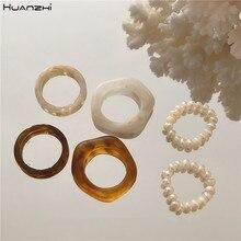 Huanzhi 2020 novo 3 pçs/set retro moda bege tortoiseshell resina natural pérola anéis de dedo para as mulheres meninas festa jóias