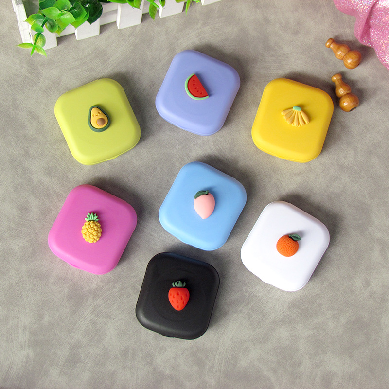 2020 Cute Girl Fruit Contact Lens Case Box With Mirror Women Mini Square Lovely  Eyes Contact Lens Container Box Bag Travel Kit