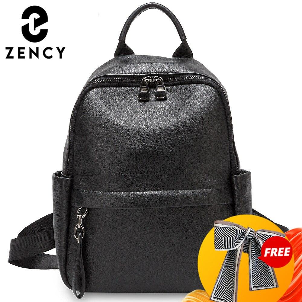 Zency-mochila de gran capacidad de piel auténtica para mujer, bolso escolar para estudiante estilo pijo, color negro y verde