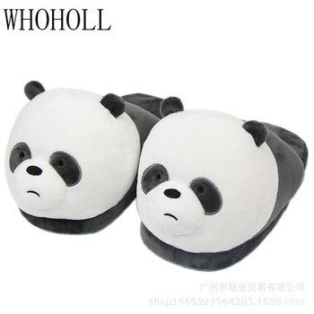 Funny Slippers For Man Women Cute Cartoon Panda Animal Slippers Winter Home Indoor Warm Plush Cotton Shoes Adult Slippers slippers for home use emoji soft cute cartoon slipper winter warm plush women shoes indoor home slippers for female women shoes