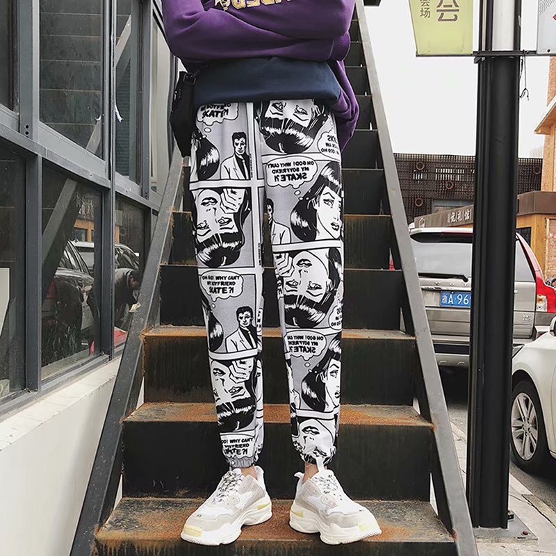 Loose Sports Casual Pants Men's Beam Foot Harem Pants Comics Printed Joggers Pants Mens Hip Hop Casual Trousers