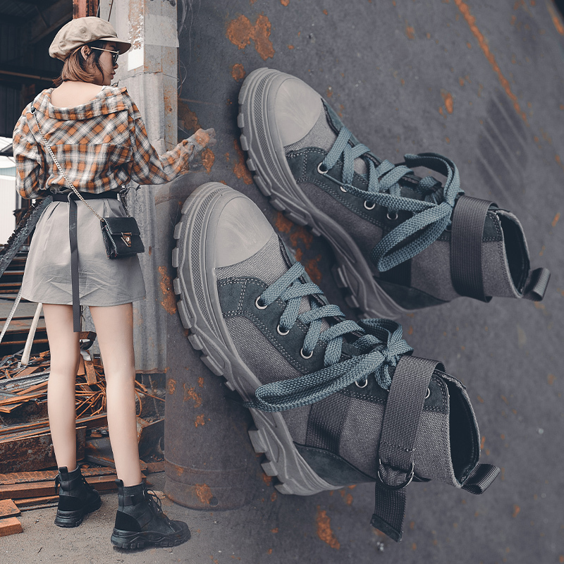 Women Retro Martin Boots Breathable High-top Sports Shoes Height Increased Female Ankle Boots Military Hiking Boots 35-40