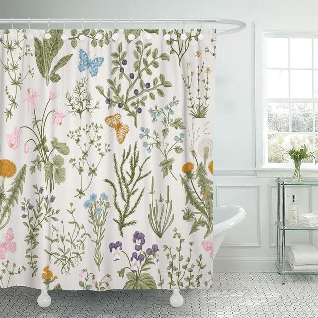 Flora Vintage Floral Pattern Herbs and Wild Flowers Botanical Engraving Style Colorful Victorian Boho Shower Curtain Waterproof