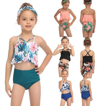 Stroje kąpielowe dla dziewczyn stroje kąpielowe dla dzieci niemowlę 2-14 dziecko dziewczynek śliczne Bikini córka strój kąpielowy stroje kąpielowe dla dziewczynek strój kąpielowy na lato tanie i dobre opinie FaBo Poliester spandex Dziewczyny Pływać childern s two piece swimwear ruff Pasuje prawda na wymiar weź swój normalny rozmiar