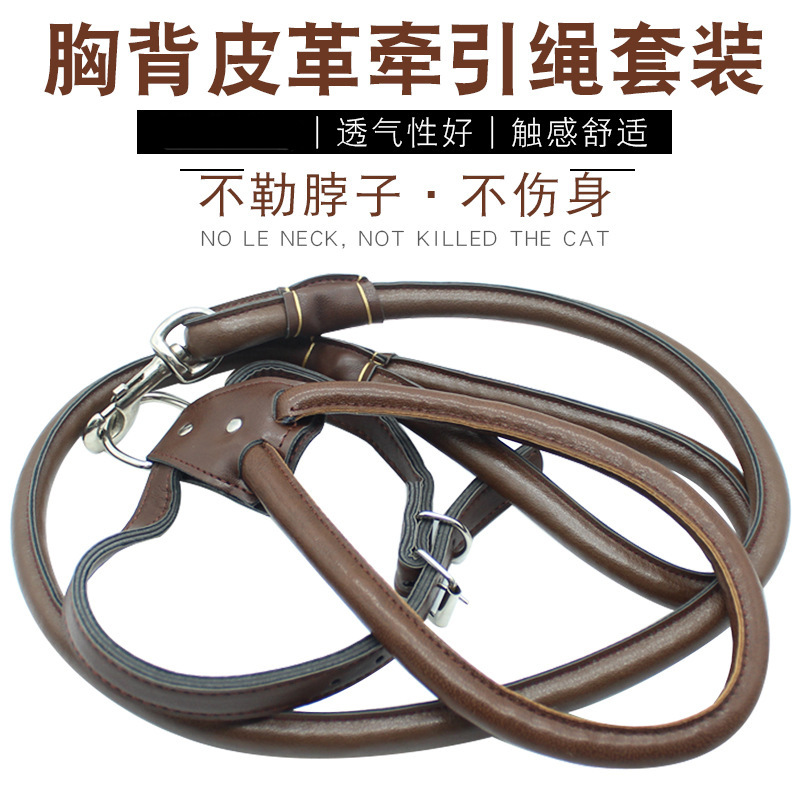 Chest And Back Leather Pulling Rope Puppy Dog Golden Retriever Large Dog Dog Rope Pet Supplies Hand Holding Rope High Quality