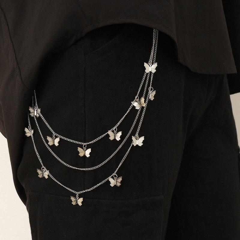 Pant Chains Waist Belts For Women Butterfly Key Chain Belt Jeans Accessories Tassel Silver Metal Fashion Ketting Riem 2020 Cinto