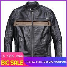 2020 Men Black American Style Motorcycle Leather Jacket Stand Collar Plus Size XXXL Genuine Cowhide Atumn Biker's Leather Coat недорого