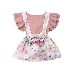 От 0 до 3 лет комплекты одежды для новорожденных девочек, розовый комбинезон с оборками и рукавами, топы + комбинезон с цветочным рисунком, 2020