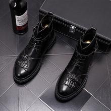 Projektant marki męskie buty na co dzień punk motocyklowe czarne prawdziwa skóry przystojny platforma botines hombre kostki botas zapato cheap HIGVIVL Buty motocyklowe CN (pochodzenie) Prawdziwej skóry Skóra bydlęca ANKLE Stałe Dla dorosłych Okrągły nosek