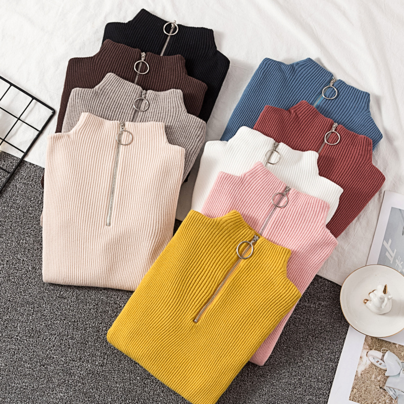 2020 Autumn Winter Women Knitted Sweaters Pullovers Turtleneck Long Sleeve Solid Color Slim Elastic Zipper Female Sweater Top