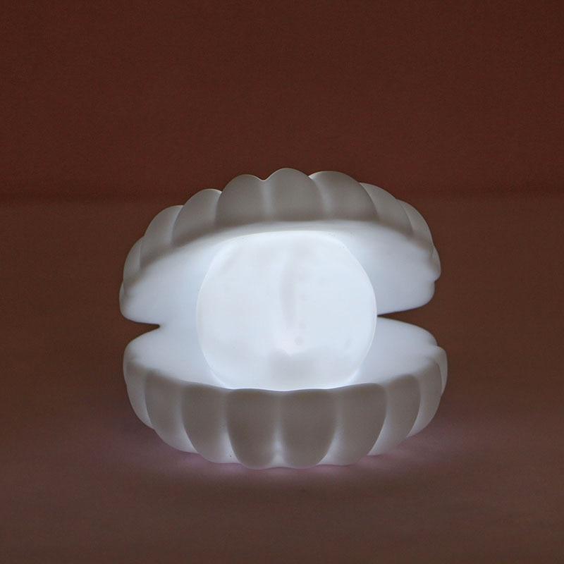 Ceramic Shell Pearl Night Light Streamer Mermaid Fairy Shell Night Lamp for Bedside Home Decoration Xmas Gift Storage Lighting