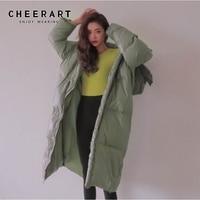 CHEERART Plus Size Long Winter Coat Women Parka Loose Puffer Jacket Hooded Bubble Coat Anorak Fashion Clothing 2019