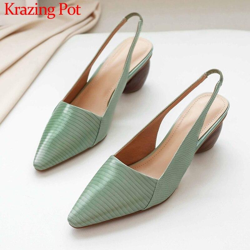 Krazing Pot New Print Genuine Leather Fashion Design Strange High Heels Pointed Toe Slip On Daily Wear Big Size Women Pumps L10