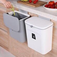 Lata de lixo cozinha pendurado cozinha cesta de lixo selado lata de lixo com tampa da cozinha do agregado familiar suprimentos resíduos de alimentos compostagem bin