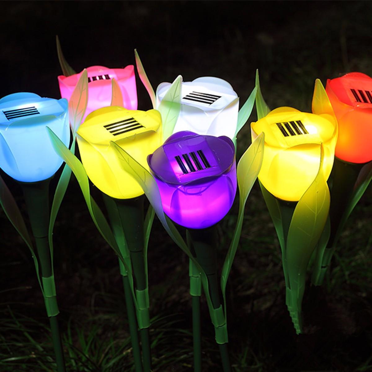 2V Solar LED Lantern Light Fairy Colorful Flower Outdoor Garden Home Tulip LED Lights For Gardens Lawns Balconies Decor