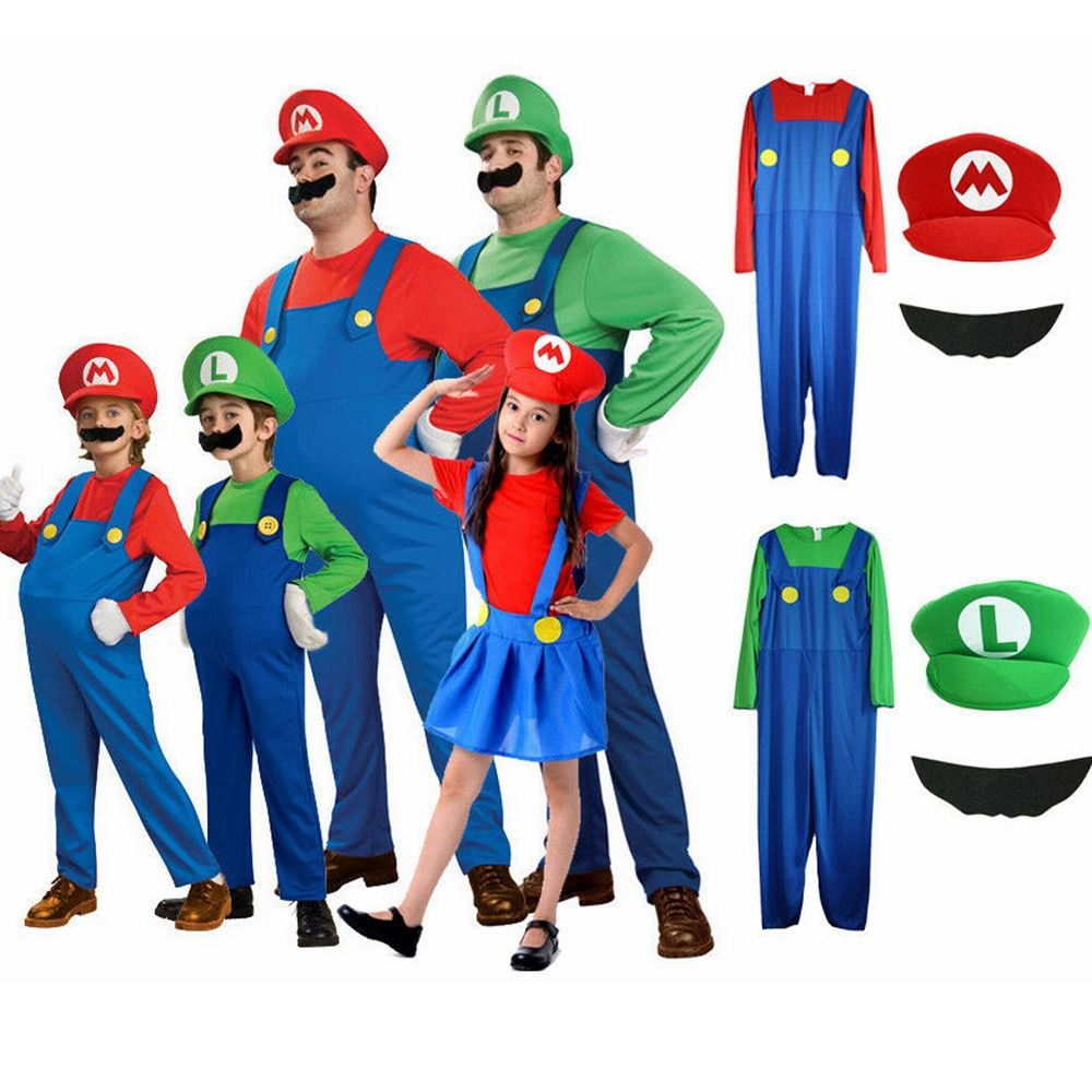 Super Mario Luigi Brother Costumes Children Family Funny Mario Luigi Plumber Carnival Purim Cosplay Adult Kid Party Fancy Dress