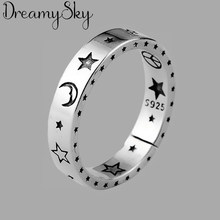 New Arrival srebrny kolor księżyc gwiazda pierścienie dla kobiet panie regulowane pierścienie biżuteria w stylu Vintage