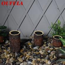 OUFULA Солнечная лужайка освещает деревянный столб водонепроницаемый моделирование Смолаы украшения сада пейзаж
