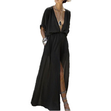 Elegant Dress Women Party Night Sexy Club Asymmetrical Solid Ankle-Length Half Sleeve V-Neck Dress Plus Size Maxi Dresses New sexy half sleeve laciness asymmetrical denim dress for women