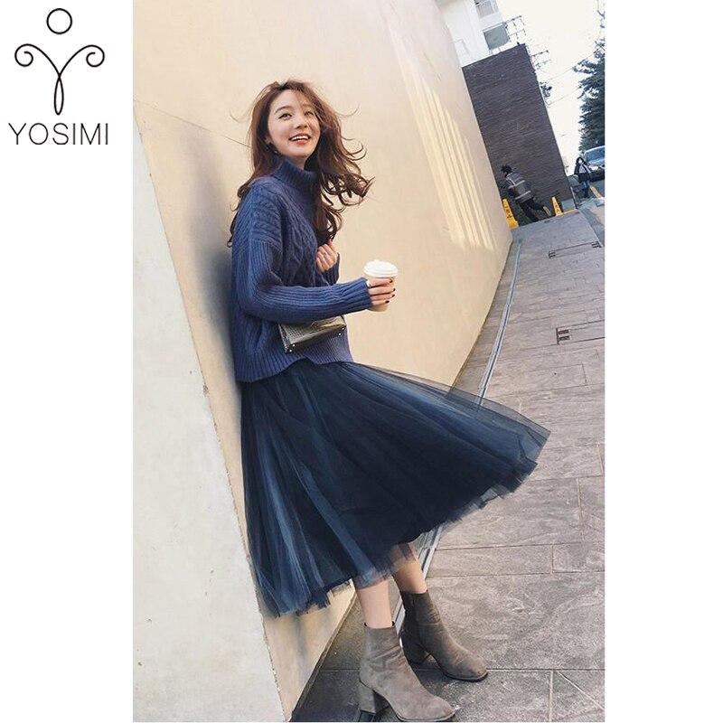 YOSIMI deux pièces tenues pour femmes 2019 automne hiver grande taille coton manches longues pull à col roulé et maille jupe costume ensembles - 3
