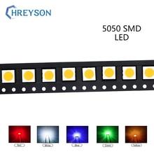 100 Uds 5050 SMD LED componente de electrón azul Amarillo Blanco verde rojo naranja púrpura RGB de alta diodo emisor de luz DIY Kit