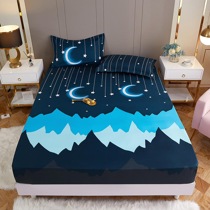 New on Product 1pc 100%Polyester Printed Fitted Sheet Mattress Cover Four Corners With Elastic Band Bed Sheet(no pillowcases) 1
