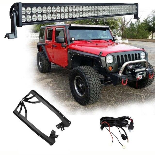 1 x 300W 52 LED Light Bar Headlights + Windshield Mounting Brackets +  for Jeep Wrangler JK 07 15 4WD SUV Wiring Switch Kit