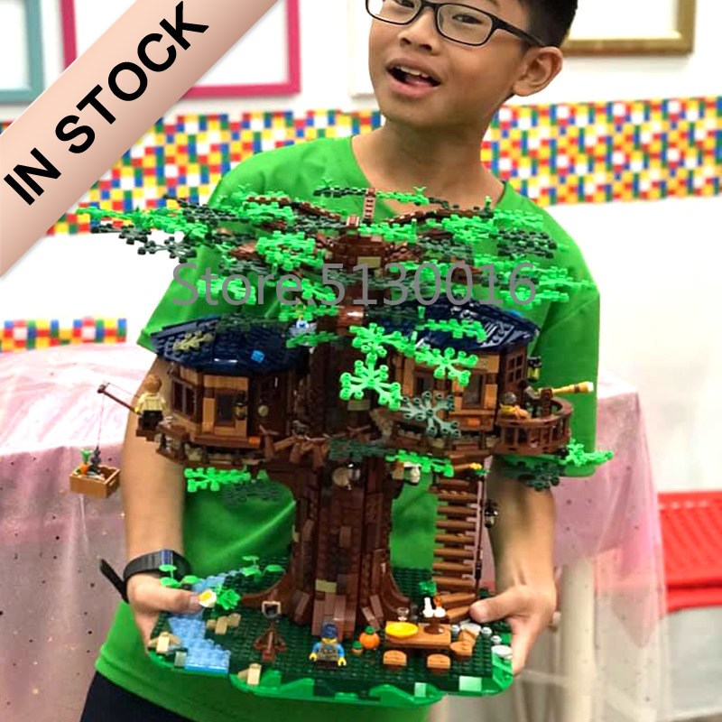 In Stock 21318 The Biggest Tree House Include Yellow/Green Leaf Ideas Model 3117Pcs Building Blocks 6007 Bricks Toys