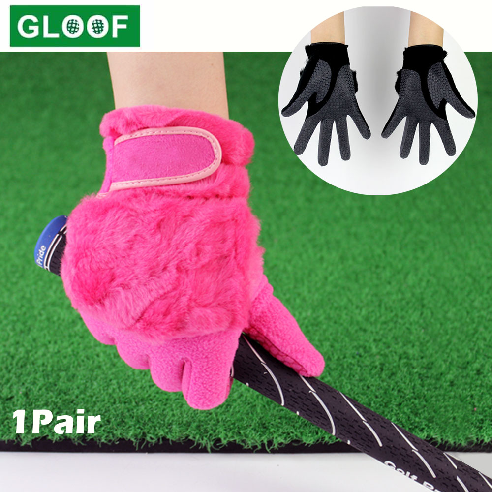 1Pair Women Winter Golf Gloves Anti-slip Artificial Rabbit Fur Warmth Fit For Left and Right Hand 1