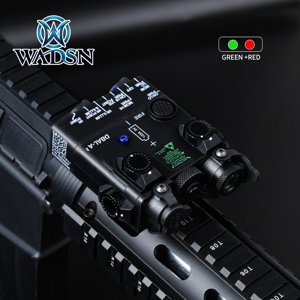WADSN Airsoft Tacital PEQ Mini DBAL-A2 Green & Red Aiming Laser LED White Light Illumination With QD Mount Hunting Weapon Light