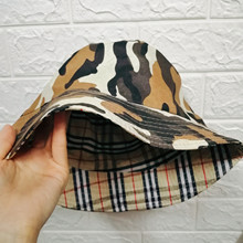 Camouflage Plaid Bucket Hat Double-side Unisex Basin Folding Cap Men Women Fishing Hunting Outdoor Hat Flat Top Sun Travel Hat все цены
