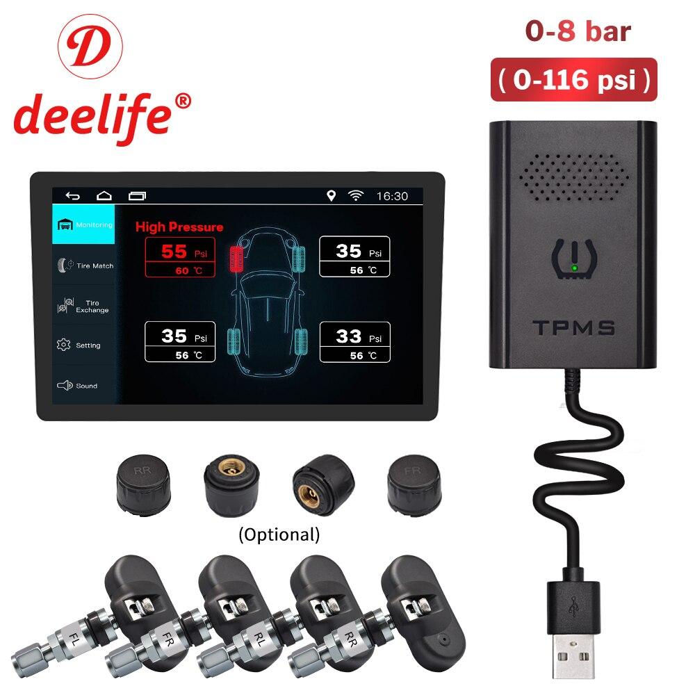 Deelife TPMS Android датчик давления в шинах монитор для автомобиля ANDROID DVD авто радио GPS навигация мультимедийный плеер TMPS USB