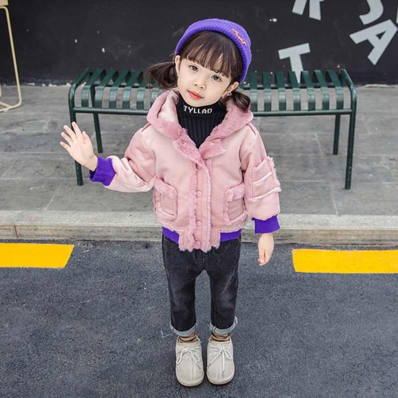 CROAL CHERIE Cute Dogs Kids Girls Jackets Baby Girls Fur Parkas Children Winter Outerwear & Coats Thicken FLeece Girls Clothes