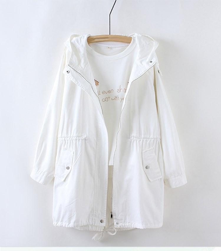 Women White   Basic     Jacket   Casual Solid Coat V-Neck Female Fashion Loose Long Coat Outwear Women Chothing
