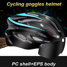Men and Women Caps Cycling Helmet Integrally-molded Goggles with Light Over 8 Air Vents Mountain Bike Bicycle Helmet Riding Safe(China)