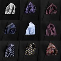New 35 Colors Handkerchiefs Woven 100% Silk Paisly Striped Hanky Men's Luxury Casual Square Pockets Handkerchief Formal Wedding