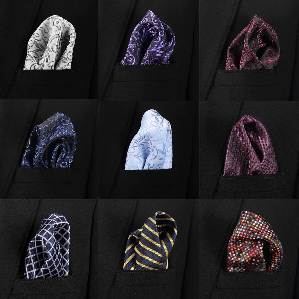 New 35 Colors Handkerchiefs Woven 100% Silk Paisly Striped Hanky Men's Luxury Casual Square Pockets Handkerchief Formal Wedding