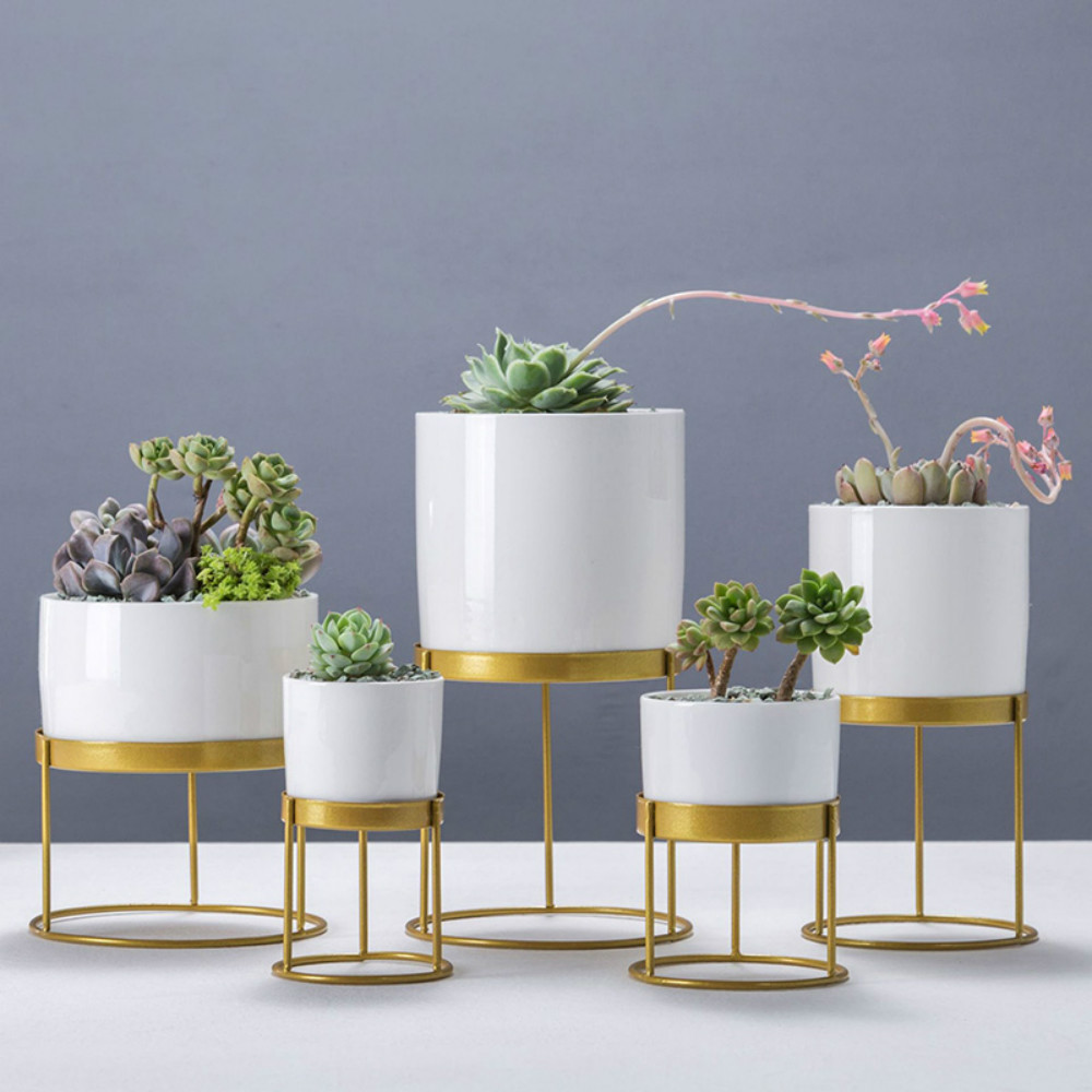 1 Piece Nordic Ceramic Vase Gold Iron Art Round Flower Pot Succulents Plant Pots Office Living Room Desktop Decoration