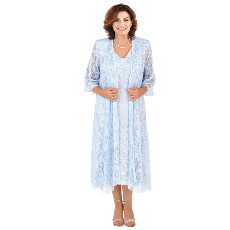 Blue Mother of the Bride Dresses Plus Size Sheer Lace Kurti Elegant Wedding Cocktail Party Long Evening Dinner Dress Gowns