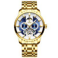 Watches Automatic Mechanical Men's Watch Large Dial Hollow Tourbillon Stainless Steel Case Strap Luminous 5-Hand Business Watch
