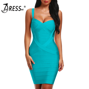 Image 3 - INDRESSME 2020 Bandage Dress Sexy Mini Spaghetti Strap Bodycon Strapless Club Party Summer Lady Dresses Femme Vestidos