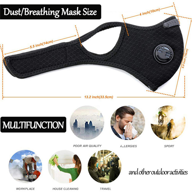 Respirator Dust Mask with Filter Breath Valve Anti Dust Mask Half Face Carbon Mountain Bicycle Motor Cycling Masks Face Cover 4