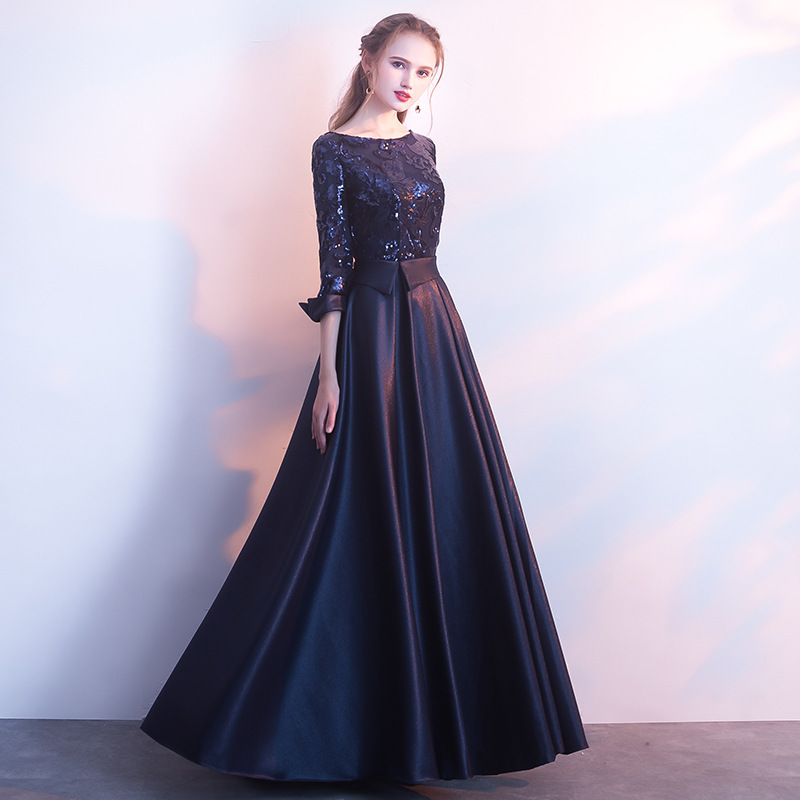 Women's O Neck Satin Fabric Long Evening Dress Sequined Formal Prom Dress Festival Ceremony Anniversary Evening Gown