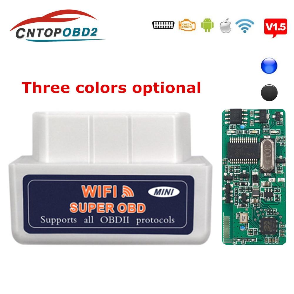 OBD2 сканер Wifi ELM327 V1.5 PIC18F25K80 чип ELM 327 Wifi OBD II автомобильный диагностический инструмент для Android/IOS считыватель кодов