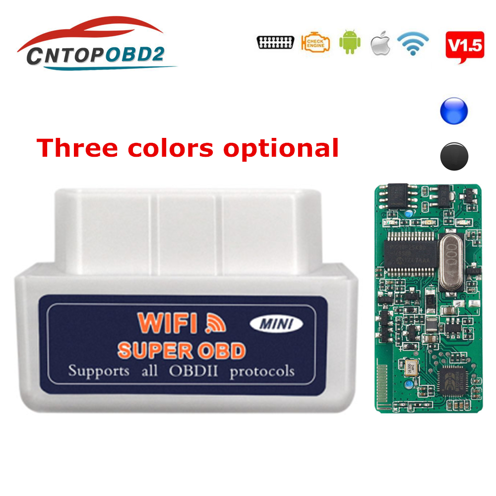 Rushed OBD2 ELM327 Wifi V1.5 Diagnostics Auto Scanner ELM 327 Bluetooth V2.1 OBD 2 Diagnostic Scanner For Auto 2.1 OBD2 Code