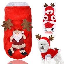 Новинка года; рождественское платье с Санта-Клаусом и оленем для домашних животных; теплая зимняя одежда; утепленная одежда