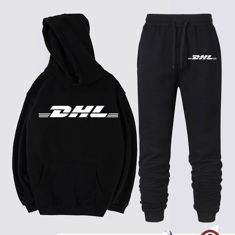 New Winter Cotton DHL Tracksuit Men Fashion Pullover Wool Jacket Long Sleeve Hip Hop Sweatshirts SetsTops + Pants Man 2019