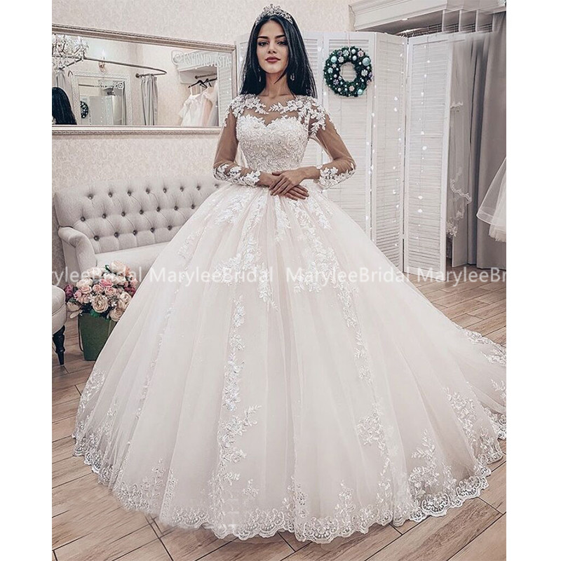 Princess Russia Wedding Dresses With Long Sleeves Sheer Scoop Neck Vintage Appliques Ball Gown Bridal Dress свадебное платье
