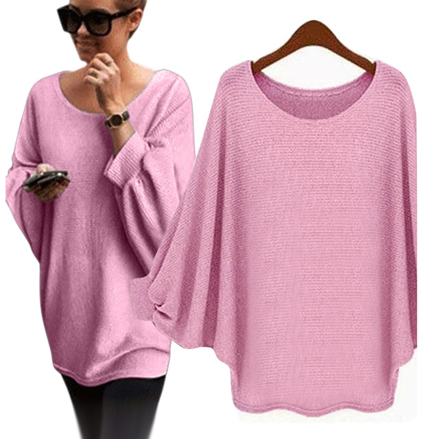 Sweater Female 2019 Autumn Winter Pullover Plus Size Women Oversized Batwing Knitted Pullover Loose Sweater  Jumper Pull Femme 8